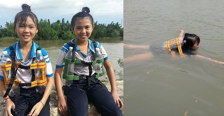 Áo phao 0 đồng chế từ chai nhựa của 3 em học sinh lớp 5 ở Cần Giờ hot trở lại mùa mưa lũ